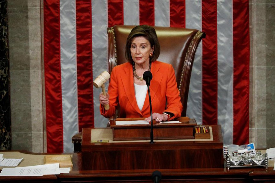 Speaker of the House Nancy Pelosi wields the gavel as she presides over the US House of Representatives vote on a resolution that sets up the next steps in the impeachment inquiry of US President Donald Trump on Capitol Hill in Washington, US, October 31, 2019. Reuters