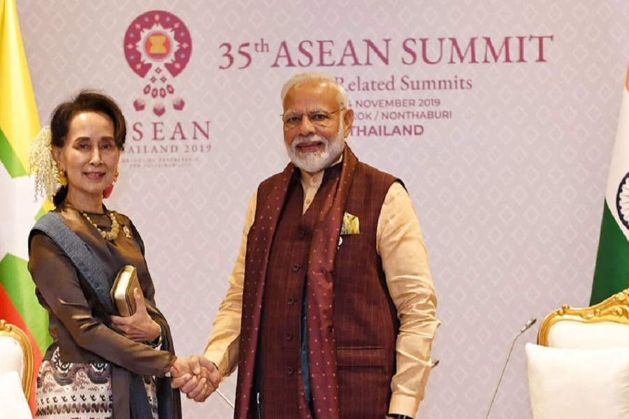 Myanmar State Counsellor Aung San Suu Kyi meets Indian Prime Minister Narendra Modi on the sidelines of the ASEAN-India Summit in Bangkok on Sunday. Photo: Courtesy