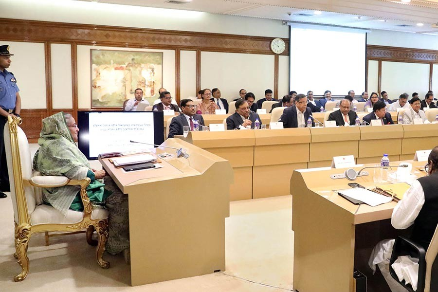 Prime Minister Sheikh Hasina presiding over the weekly cabinet meeting at the Prime Minister's Office in Dhaka on Monday. -Focus Bangla Photo