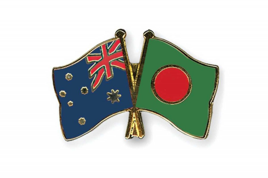 Flags of Bangladesh and Australia are seen cross-pinned in this photo symbolising friendship between the two nations