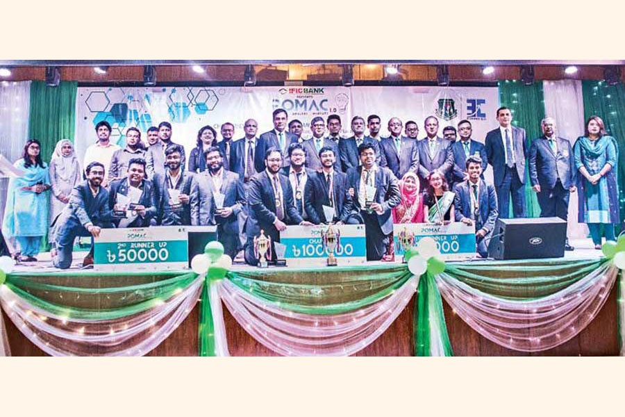 Winners of 'POMAC 1.0' held at Bangladesh University of Professionals with the judges and guests