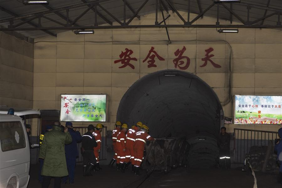 Rescue staff work at the coal mine where a gas explosion happened in Pingyao County, north China's Shanxi Province on Tuesday — Xinhua photo