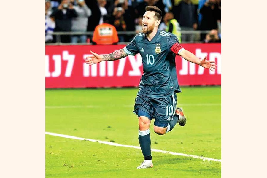 Argentina's Lionel Messi celebrating after scoring their second goal against Uruguay in the International Friendly at Bloomfield Stadium in Tel Aviv, Israel on Monday— Internet