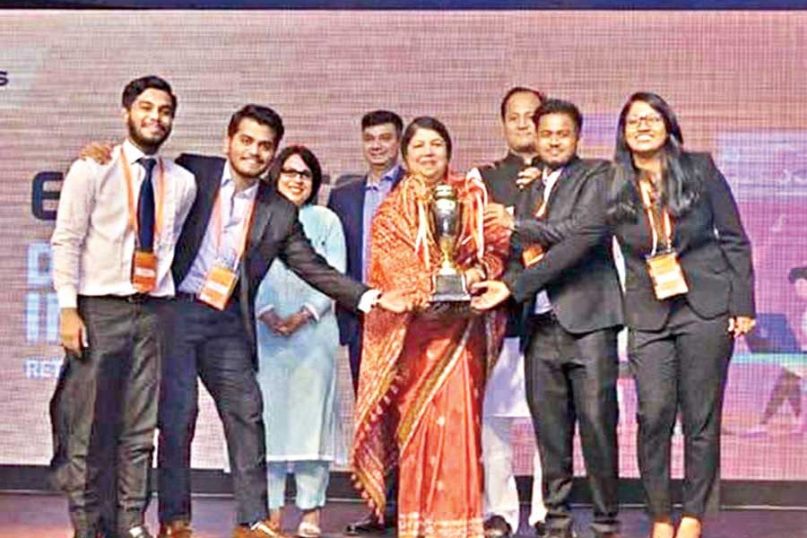 The winners of Banglalink Ennovators 3.0 -- Irfan Uddin, Shahriar Raihan Sakib, Ferdows Abid Chowdhury and Farah Tasnim (from left to right) -- along with the Speaker of Bangladesh Parliament Dr Shirin Sharmin Chaudhury (third from left)