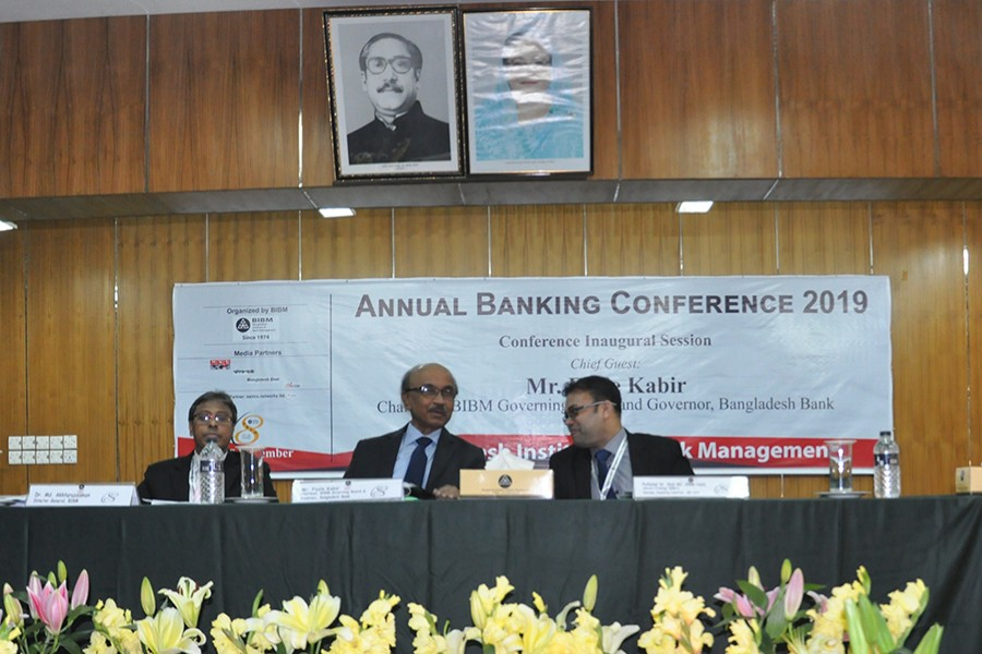 Fazle Kabir (middle), Governor, Bangladesh Bank (BB), seen at the opening ceremony of the two-day Annual Banking Conference (ABC)-2019, organised by Bangladesh Institute of Bank Management (BIBM) at its auditorium in the city's Mirpur on Wednesday