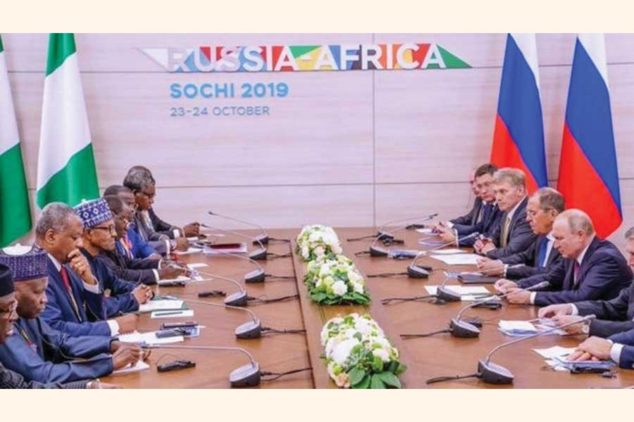 'A dazzling example of Kremlin's charm offensive is the inaugural Russia-Africa Summit (October 23-24) where over 40 African leaders and some 3,000 businessmen gathered in Sochi.'              —Photo credit:  Presidency Nigeria via the Internet