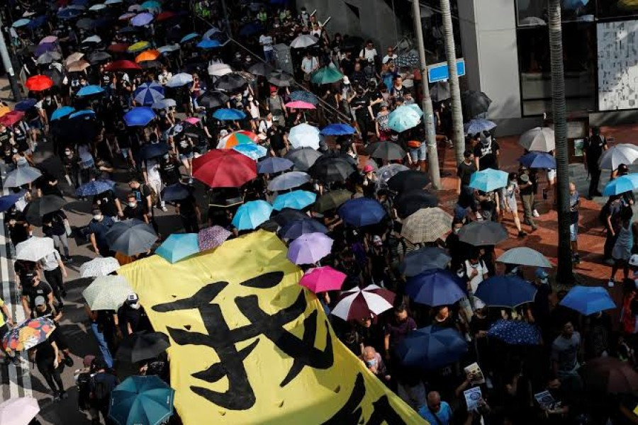 Anti-government protesters march in a protest in central Hong Kong, China October 5, 2019. REUTERS/Jorge Silva