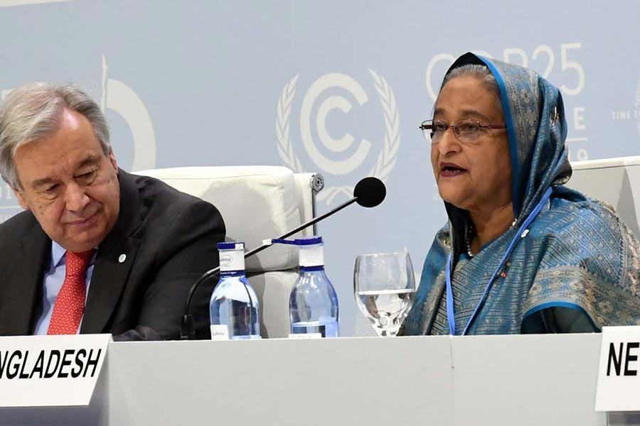 Prime Minister Sheikh Hasina addressing the Action for Survival: Vulnerable Nations COP25 Leaders' Summit at Feria de Madrid (IFEMA) in Madrid, the capital of Spain, on Monday. -PID Photo
