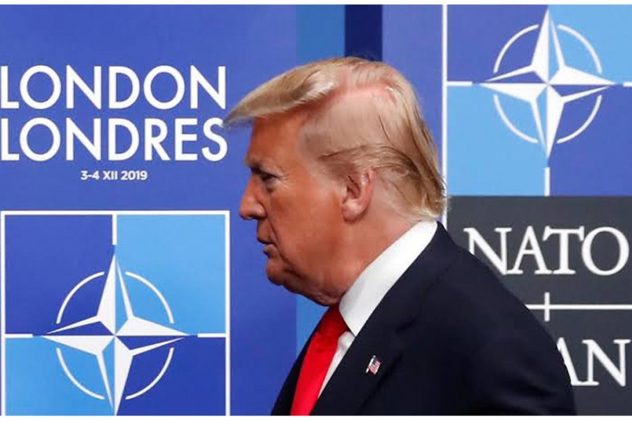 US President Donald Trump attends the NATO leaders summit in Watford, Britain, December 4, 2019. Reuters