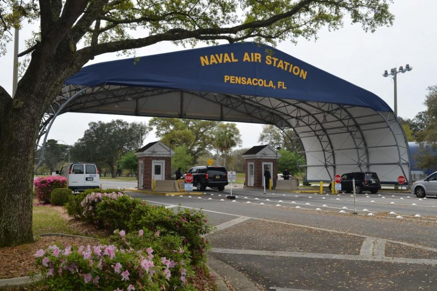 FILE PHOTO: The main gate at Naval Air Station Pensacola is seen on Navy Boulevard in Pensacola, Florida, U.S. March 16, 2016. Picture taken March 16, 2016. U.S. Navy/Patrick Nichols/Handout via REUTERS/File Photo