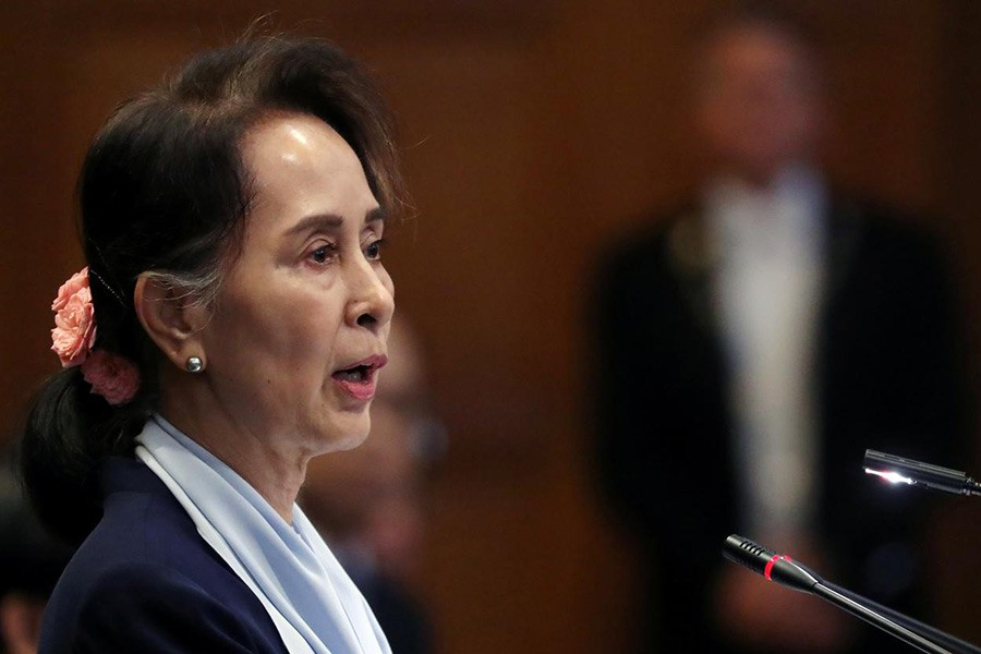 Myanmar's leader Aung San Suu Kyi speaking on the second day of hearings in a case filed by Gambia against Myanmar alleging genocide against the minority Muslim Rohingya population, at the International Court of Justice (ICJ) in The Hague, Netherlands on Wednesday. -Reuters Photo
