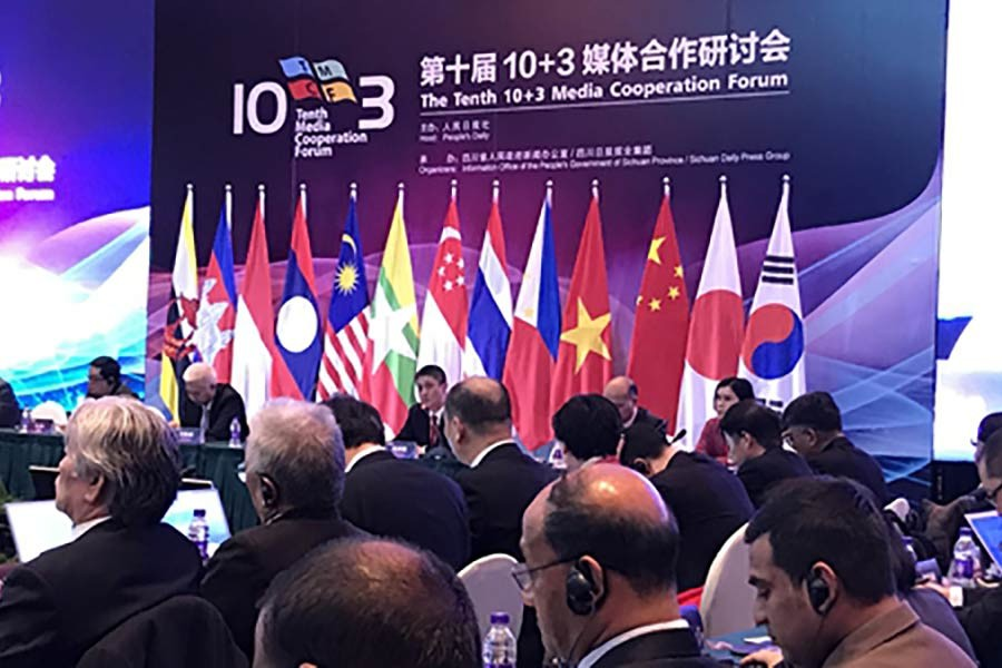 Delegates taking part in the 10th 10+3 Media Cooperation Forum in Chengdu, Southwest China's Sichuian Province, on Sunday. Photo: Global Times