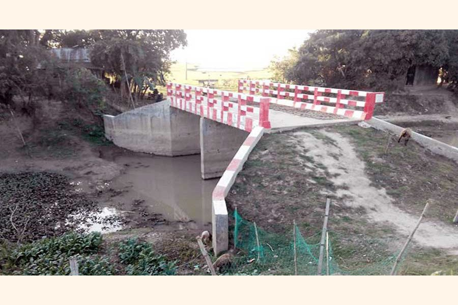 A newly-constructed bridge over a canal under Shulla upazila of Sunamganj district which does not have any connecting roads	— FE photo