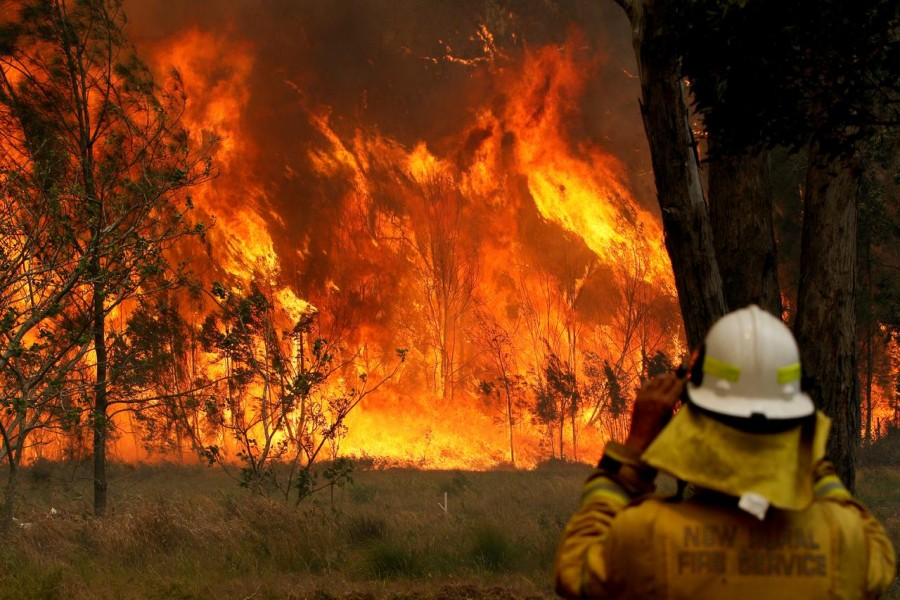FILE PHOTO: A firefighter on property protection watches the progress of bushfires in Old Bar, New South Wales, Australia November 9, 2019. AAP Image/Shane Chalker/via REUTERS