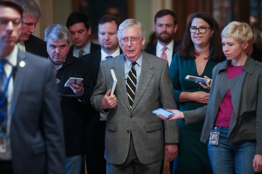 US Senate Majority Leader Mitch McConnell (R-KY) speaks to reporters as he departs the Senate floor in the US Capitol in Washington, US, January 3, 2020. Reuters