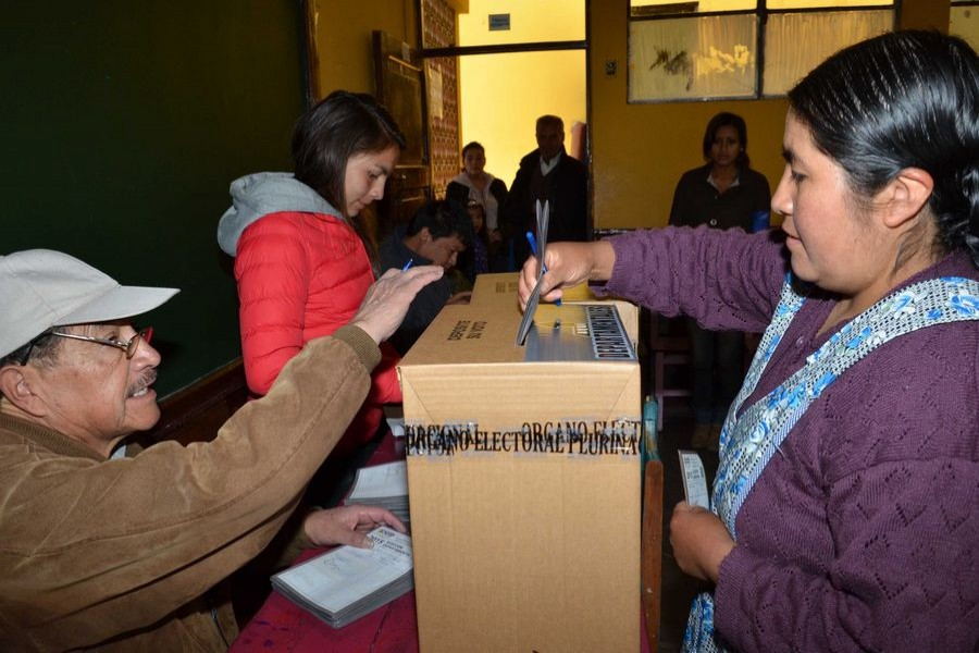 A woman casts her vote during the departmental and municipal elections in La Paz, Bolivia, on March 29, 2015. (Xinhua/ABI)