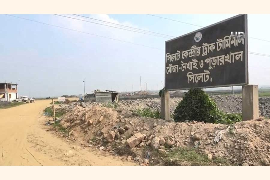 The newly-built Sylhet Central Truck Terminal in the Paraichak area remained unused for lack of cooperation of the truckers  — FE Photo
