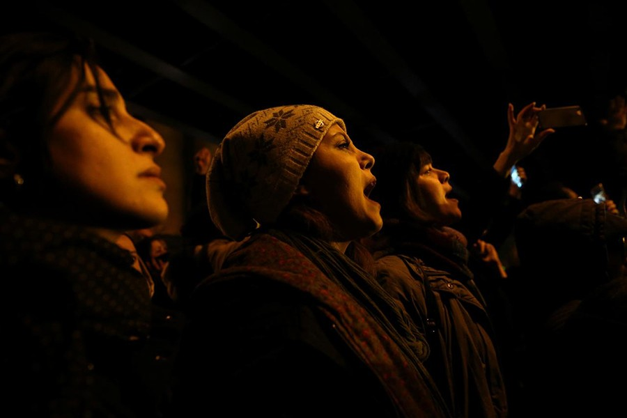 A woman shouts slogans as she gathers with people to show their sympathy to the victims of the crash of the Boeing 737-800 plane, flight PS 752, in Tehran, Iran on January 11, 2020 — West Asia News Agency via REUTERS