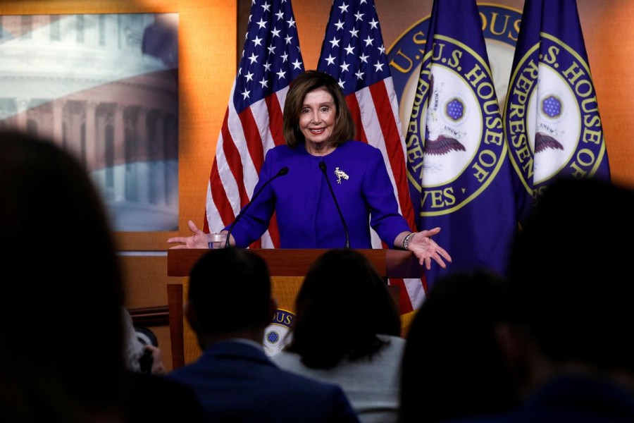 US speaker of the House Nancy Pelosi (D-CA) speaks ahead of a House vote on a War Powers Resolution amid the stalemate surrounding the impeachment of US president Donald Trump, as she holds her weekly news conference at the US Capitol in Washington, US, January 9, 2020. Reuters