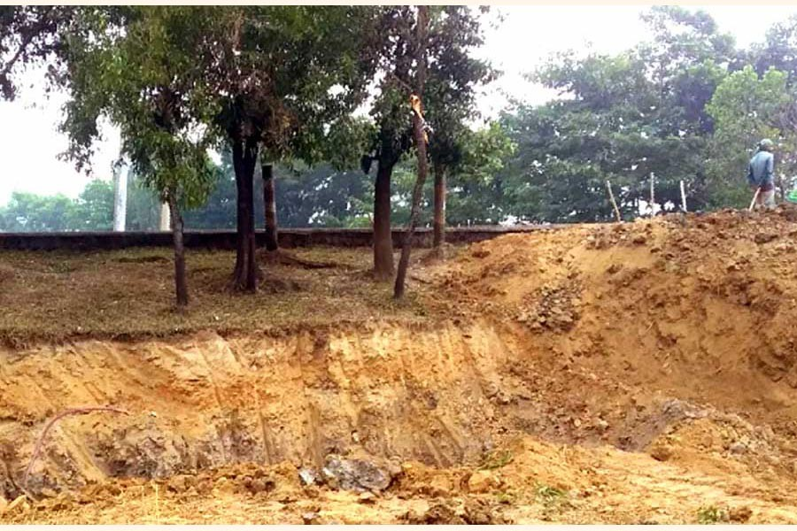 Hill cutting in Jaintapur  takes a worrying turn