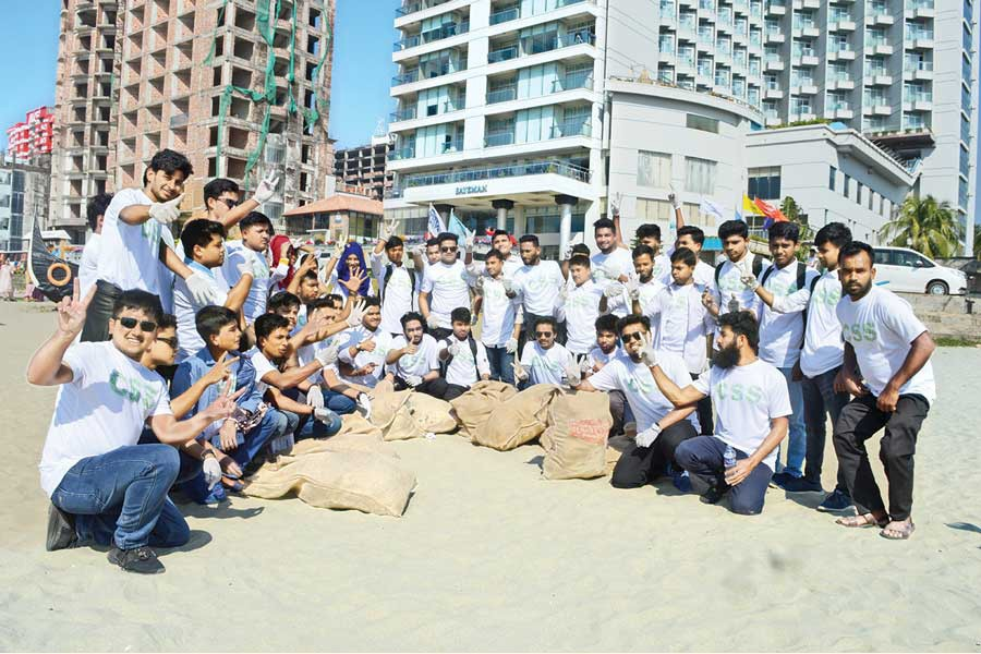 Cox's Bazar Student Society (CSS) members after collecting waste from the Cox's Bazar beach