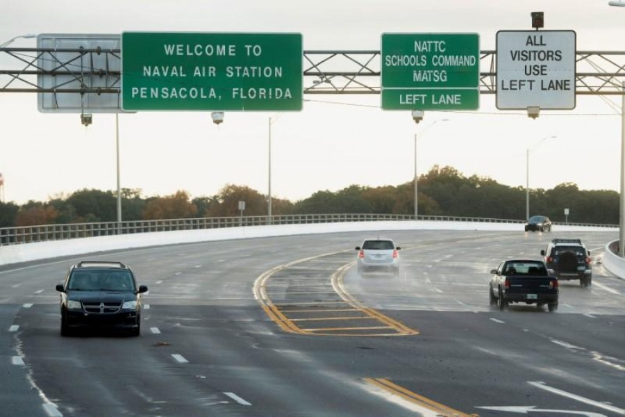 FILE PHOTO: Traffic on and off base is restricted after a member of the Saudi Air Force visiting the United States for military training was the suspect in a shooting at Naval Air Station Pensacola, in Pensacola, Florida, U.S. December 6, 2019. REUTERS/Michael Spooneybarger