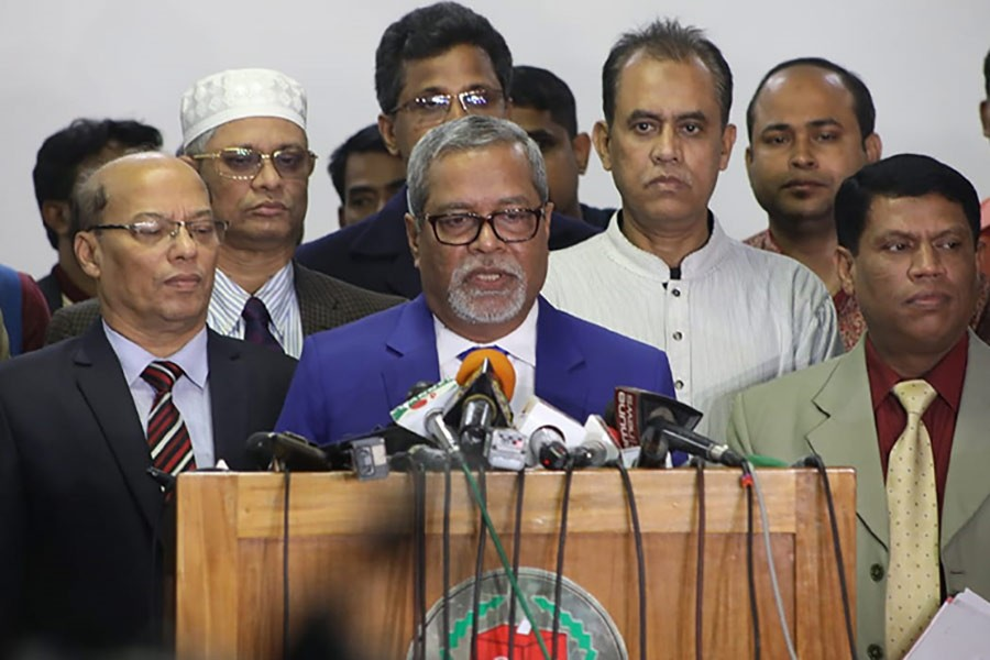 Chief Election Commissioner KM Nurul Huda addressing a press conference after an emergency meeting at Nirbachan Bhaban in the city on Saturday. -Star Mail Photo