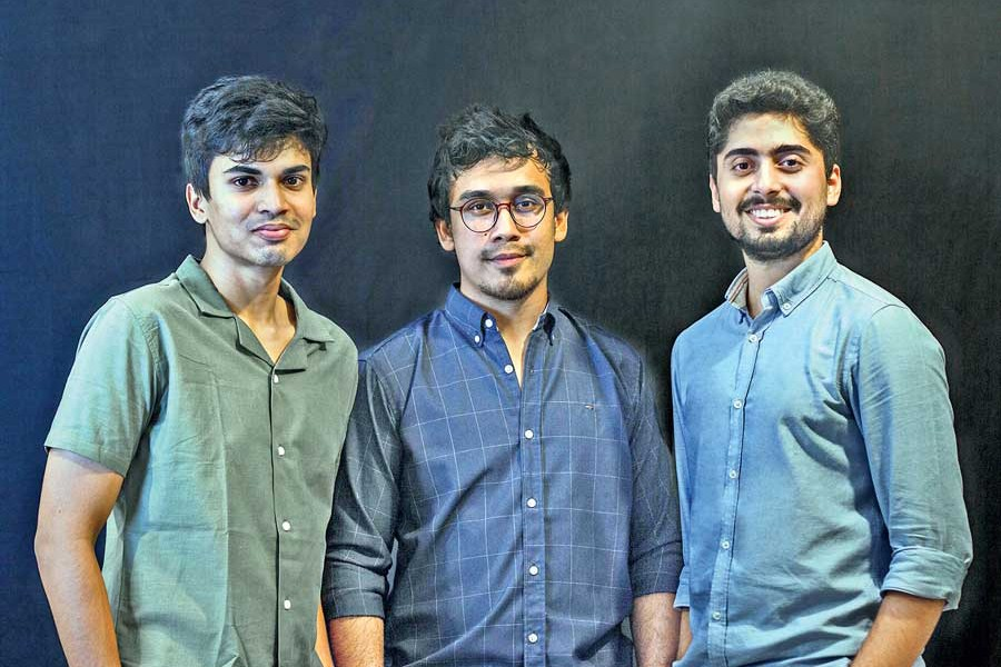 The founders of GorurGhash, a clothing brand (from left to right): Fahim Islam Shetab, Md Nahiyan Naser and Ali Sakhi Khan