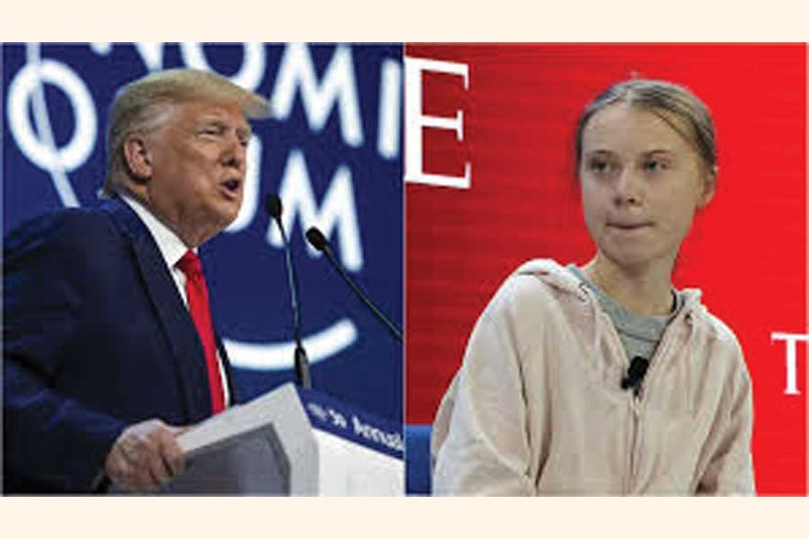 Donald Trump and Greta Thunberg clash on climate at World Economic Forum 2020. 	—Photo: AP