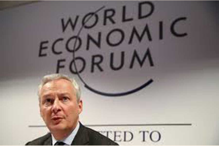 France's Economy Minister Bruno Le Maire addressing a news conference during the 50th World Economic Forum (WEF) in Davos, Switzerland on Wednesday — Reuters