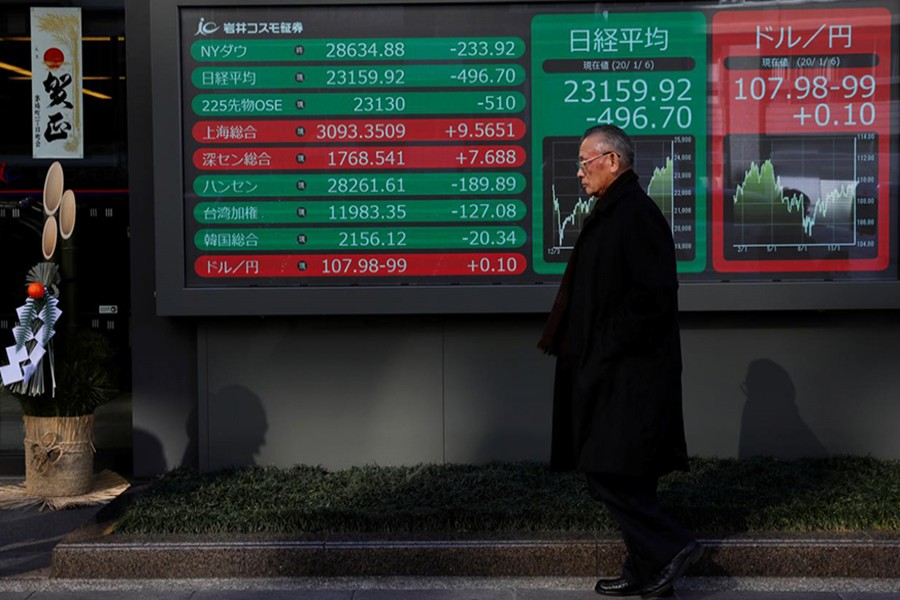 A decoration for celebrating new year is seen next to a stock index board outside a brokerage in Tokyo, Japan on January 6, 2020 — Reuters/Files