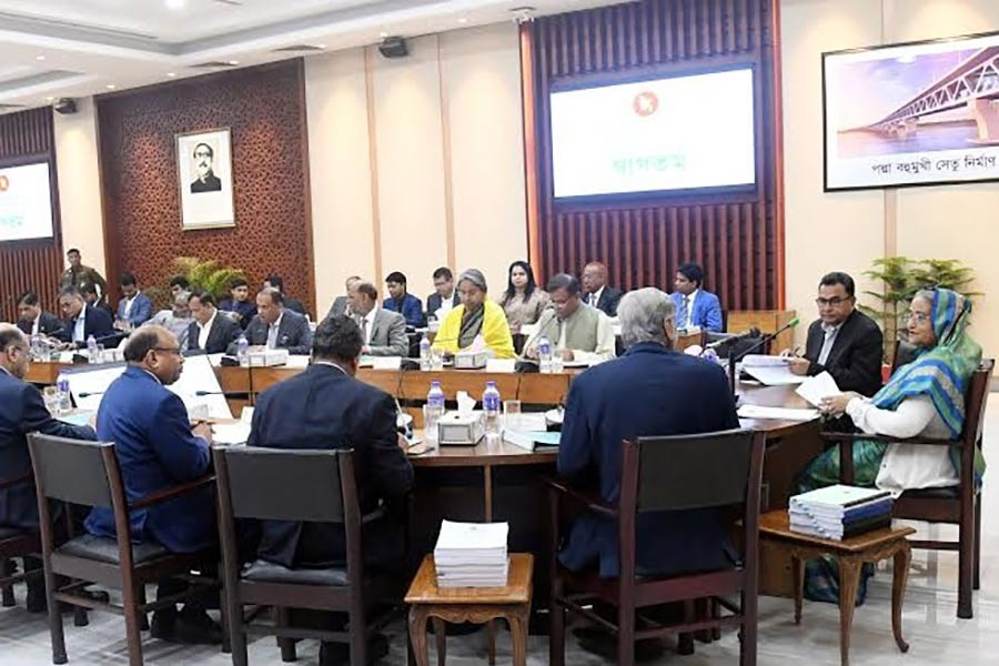 Prime Minister Sheikh Hasina presiding over the ECNEC meeting at the NEC Conference Room in the city's Sher-e-Bangla Nagar area on Tuesday. -BSS Photo