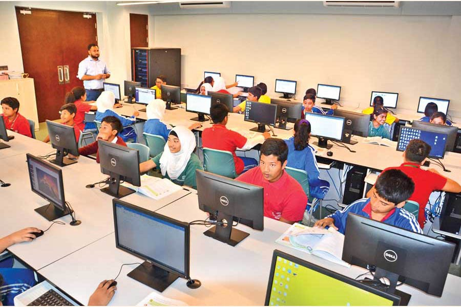 Students of DPS STS School Dhaka in a digital classroom