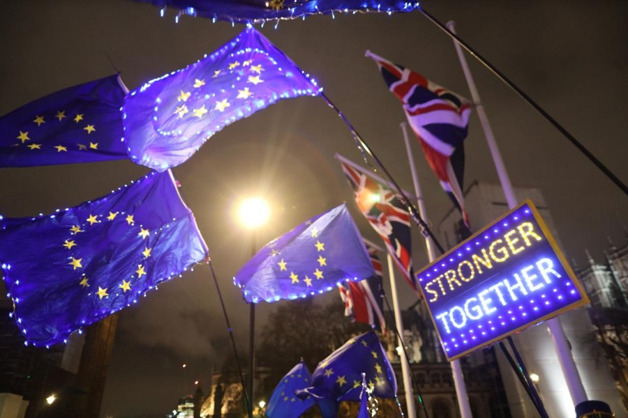 Anti-Brexit protesters demonstrate outside the Houses of Parliament in London, Britain, January 30, 2020. Reuters