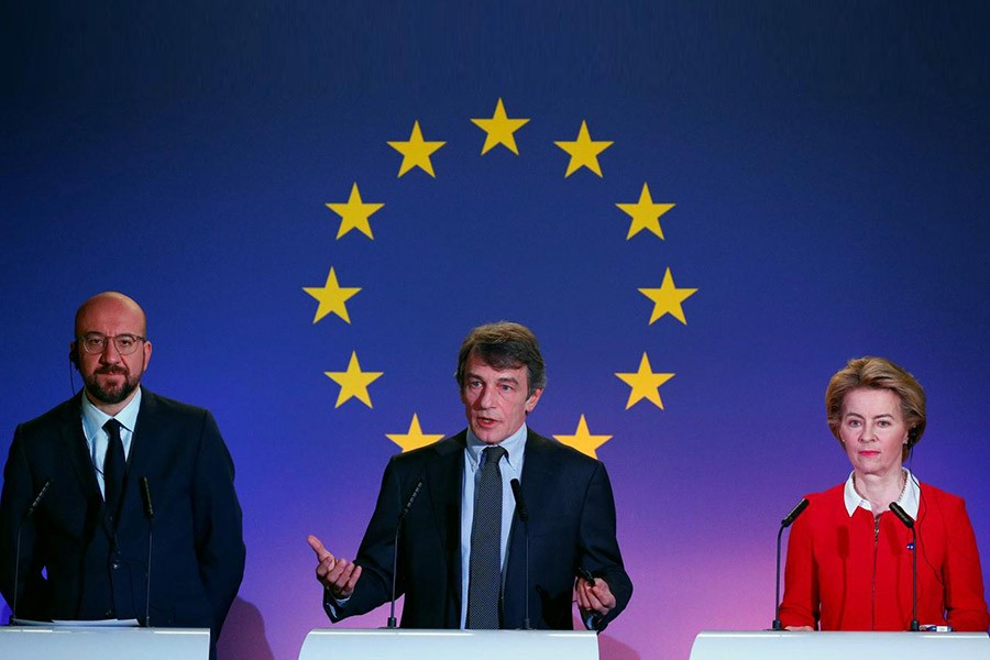 European Council President Charles Michel, EU Parliament President David Sassoli and EU Commission President Ursula von der Leyen giving a speech on the future of Europe in Brussels, Belgium on Friday. -Reuters Photo