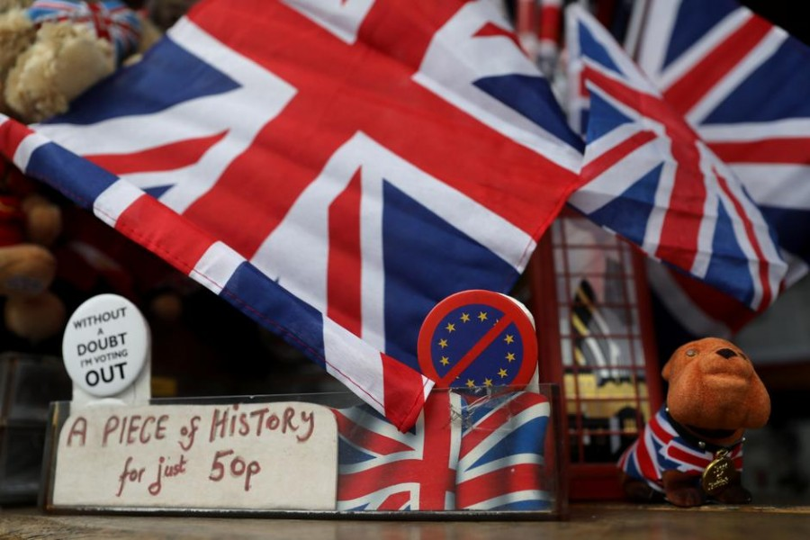 A British bulldog toy and other souvenirs are pictured at a souvenir store, near Parliament Square, on Brexit day, in London, Britain January 31, 2020. REUTERS/Simon Dawson