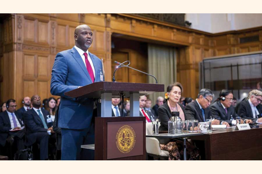 Gambia's Justice Minister Abubacarr Tambadou speaks on the first day of hearings in a case against Myanmar alleging genocide against the minority Muslim Rohingya population at the International Court of Justice in The Hague. —Credit: UN Photo/ICJ-CIJ/Frank van Beek