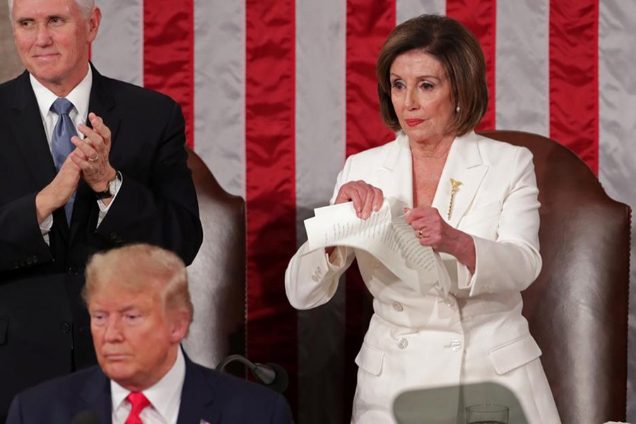 Speaker of the House Nancy Pelosi rips up the speech of US President Donald Trump after his State of the Union address to a joint session of the US Congress in the House Chamber of the US Capitol in Washington, US on February 4, 2020 — Reuters photo