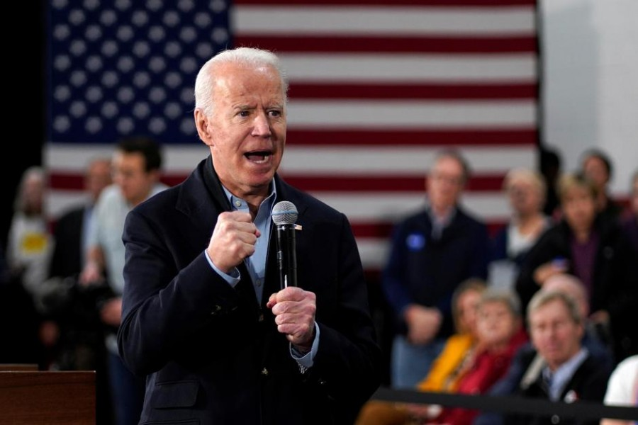 Democratic presidential candidate and former vice president Joe Biden speaks at a campaign event in Nashua, New Hampshire, US, February 4, 2020. Reuters