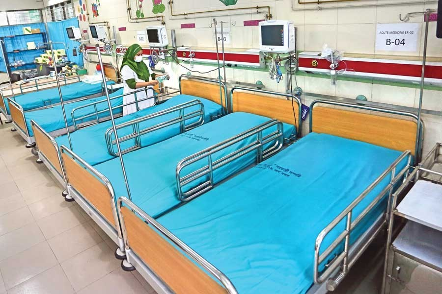 An isolation unit has been opened on the ground floor of Unit-2 of Dhaka Medical College Hospital in the city for handling any possible coronavirus outbreak — FE photo