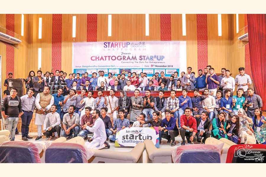 A photo from Startup Chattogram launch event in November 2018 at Bangabandhu Convention Hall
