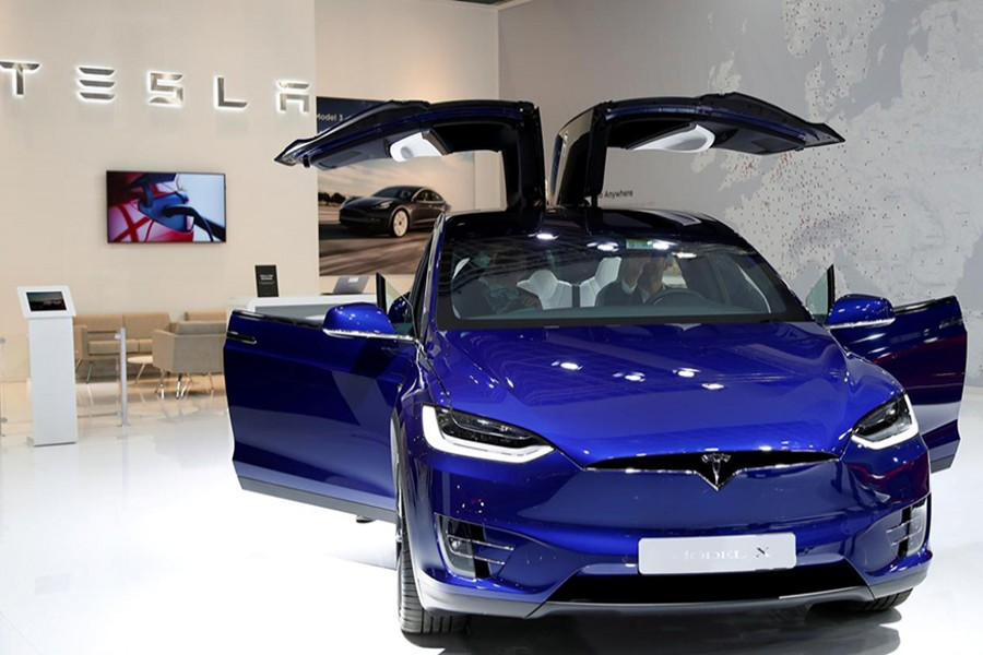 A Tesla Model X electric car is seen at Brussels Motor Show, Belgium on January 9, 2020 — Reuters/Files