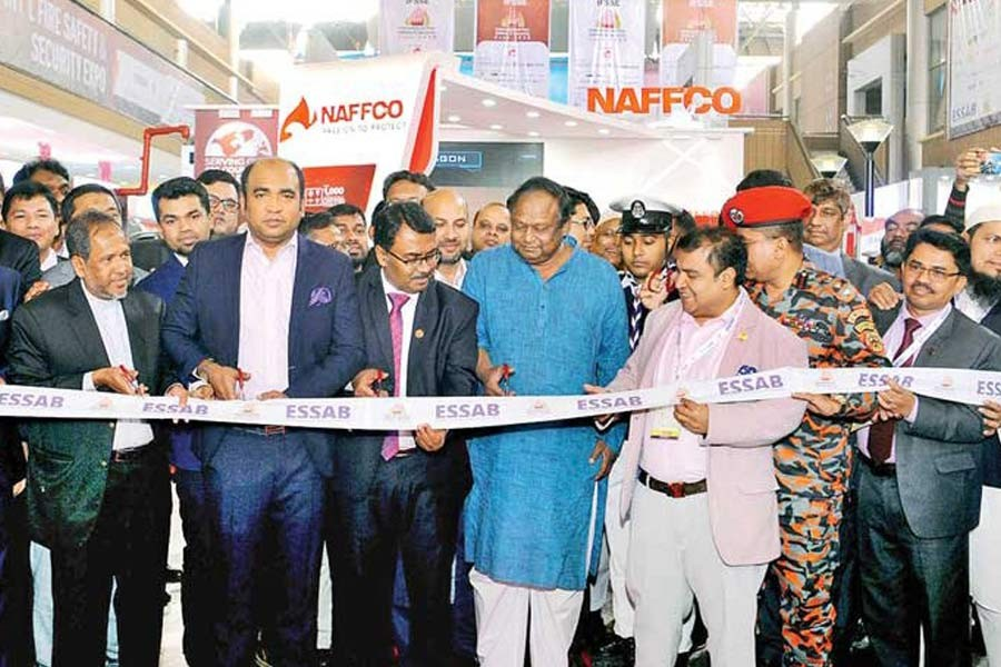 Commerce Minister Tipu Munshi inaugurating a three-day International Fire Safety and Security Exposition 2020 in the capital on Thursday — Photo: Focus Bangla