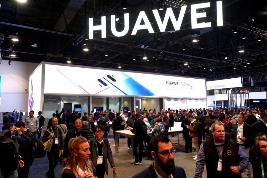 The Huawei booth is shown during the 2020 CES in Las Vegas, Nevada, US, January 7, 2020. Reuters