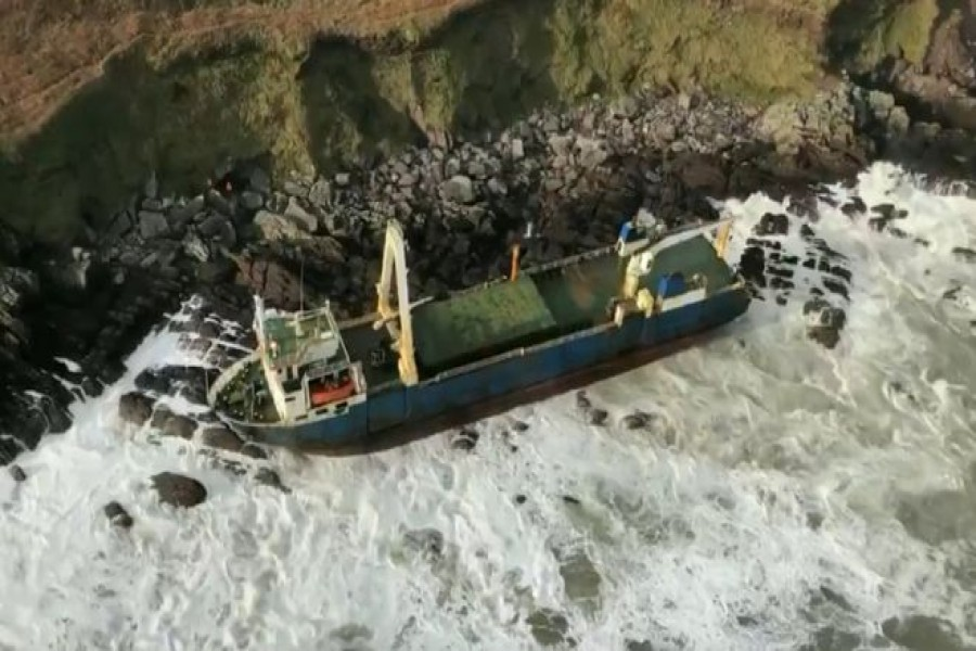 The 80-metre cargo ship Alta was last seen thousands of miles away in 2019 - IRISH COAST GUARD/PA