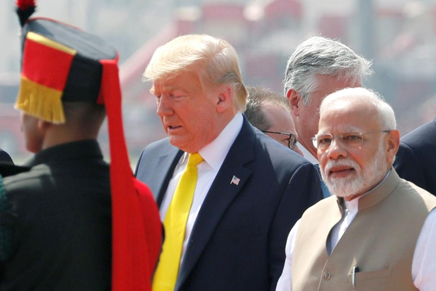 US President Donald Trump is welcomed by Indian Prime Minister Narendra Modi as he arrives at Sardar Vallabhbhai Patel International Airport in Ahmedabad, India on February 24, 2020 — Reuters photo