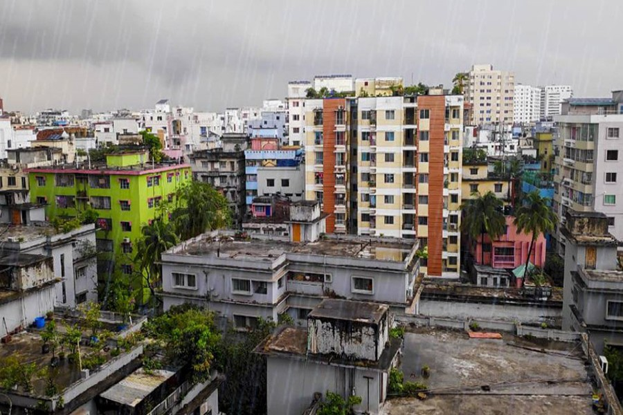 A view of a rainy Dhaka with scattered clouds hovering over the city's skyline — UNB/Files