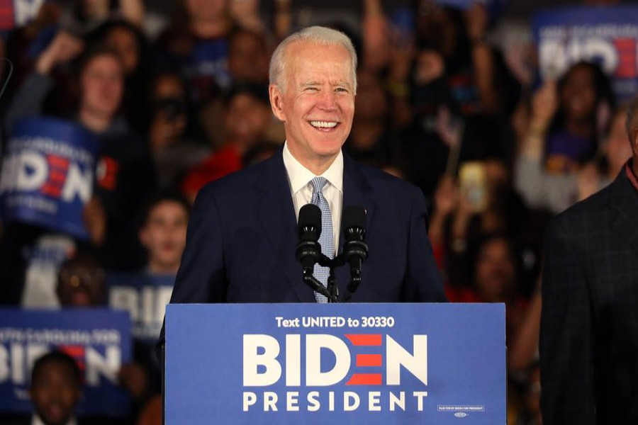 Democratic US presidential candidate and former vice president Joe Biden addresses supporters at his South Carolina primary night rally in Columbia, South Carolina, US, February 29, 2020 — Reuters