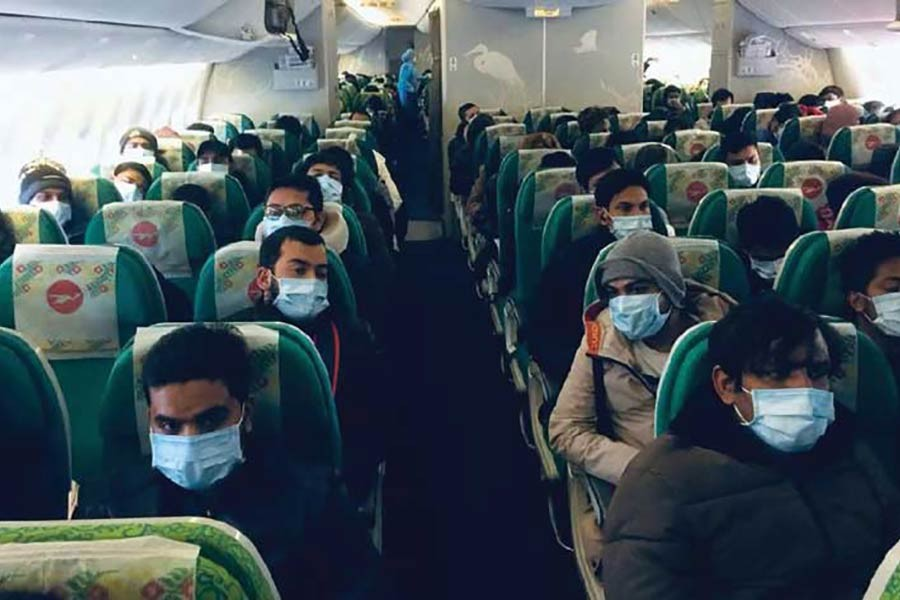 A special flight of Biman Bangladesh Airlines carrying the Bangladeshis landed at Hazrat Shahjalal International Airport at 11:53am.on Saturday, February 29. A total of 316 Bangladeshi citizens were brought back from China's Wuhan, the epicentre of the new coronavirus outbreak, and seven of them were sent to Kurmitola General Hospital.    —UNB Photo