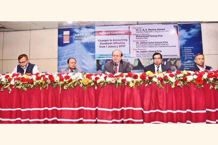 C. Q. K. Mustaq Ahmed, Chairman, Financial Reporting Council (FRC), speaking at the Members' Conference on 'Changes in Accounting Standards Effective from 1 January 2019' organised by the Institute of Chartered Accountants of Bangladesh (ICAB) on Saturday at CA Bhaban in the city.